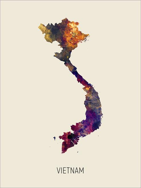 Vietnam Map Poster Art Print