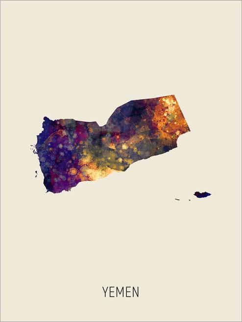 Yemen Map Poster Art Print