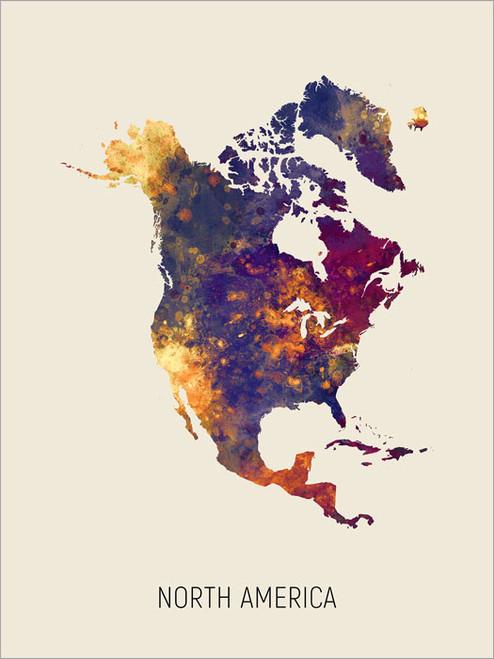 North America Map Poster Art Print