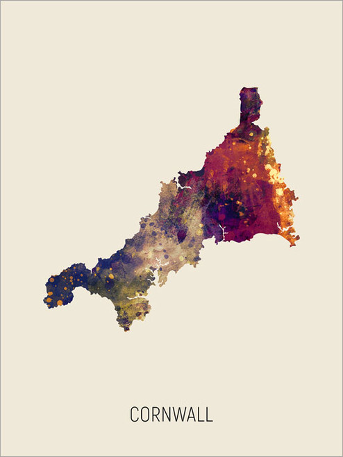 Cornwall Map Poster Art Print