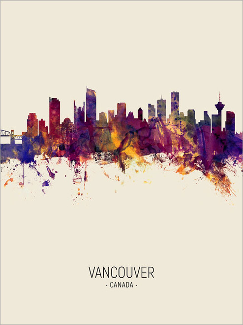 Vancouver Canada Skyline Cityscape Poster Art Print