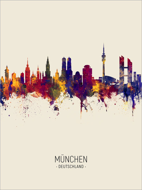 Munich Germany Skyline Cityscape Poster Art Print
