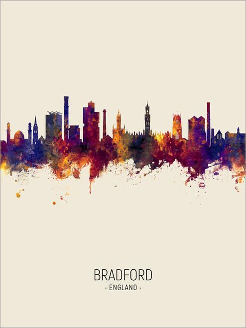 Bradford England Skyline Cityscape Poster Art Print