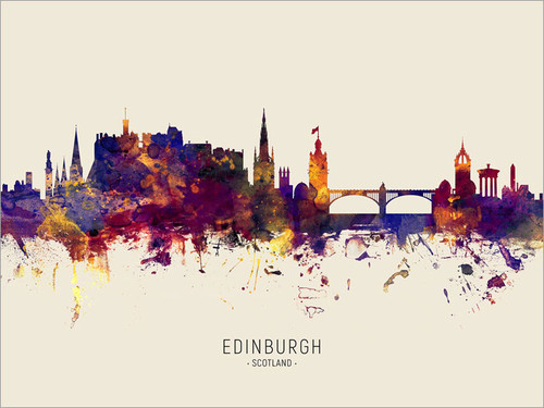 Edinburgh Scotland Skyline Cityscape Poster Art Print