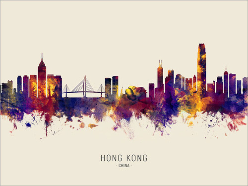 Hong Kong China Skyline Cityscape Poster Art Print