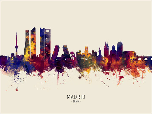 Madrid Spain Skyline Cityscape Poster Art Print