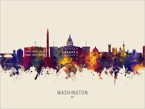 Washington DC Skyline Cityscape Poster Art Print