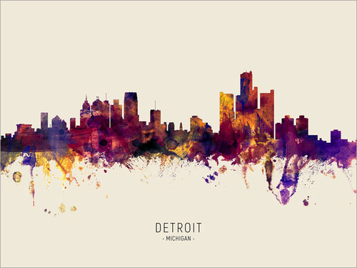 Detroit Michigan Skyline Cityscape Poster Art Print