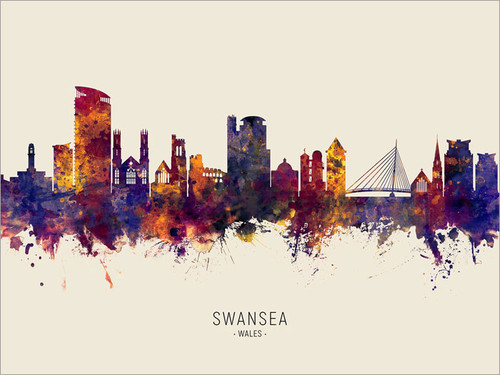 Swansea Wales Skyline Cityscape Poster Art Print