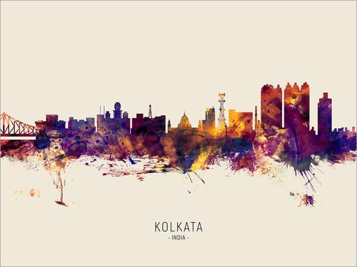 Kolkata India Skyline Cityscape Poster Art Print