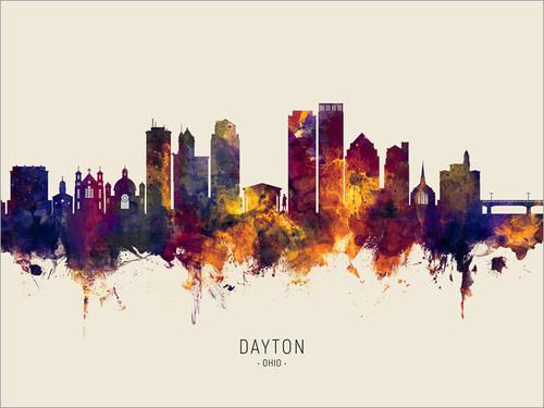 Dayton Ohio Skyline Cityscape Poster Art Print