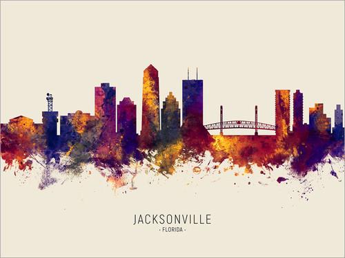 Jacksonville Florida Skyline Cityscape Poster Art Print
