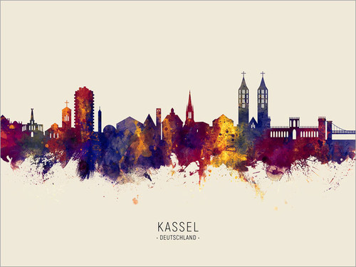 Kassel Deutschland Skyline Cityscape Poster Art Print