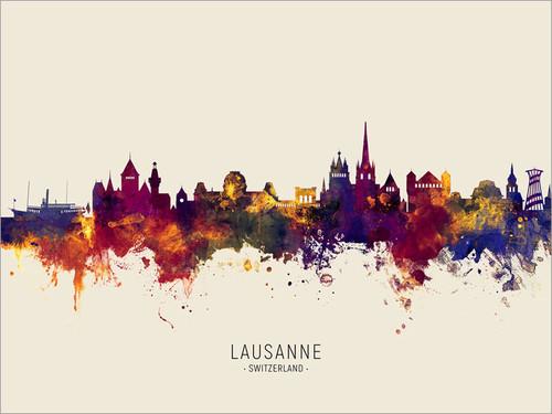 Lausanne Switzerland Skyline Cityscape Poster Art Print