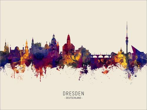 Dresden Deutschland Skyline Cityscape Poster Art Print