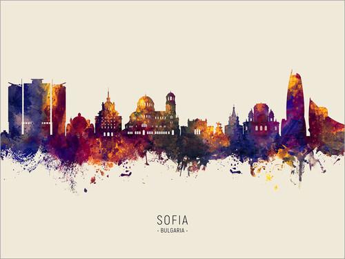 Sofia Bulgaria Skyline Cityscape Poster Art Print