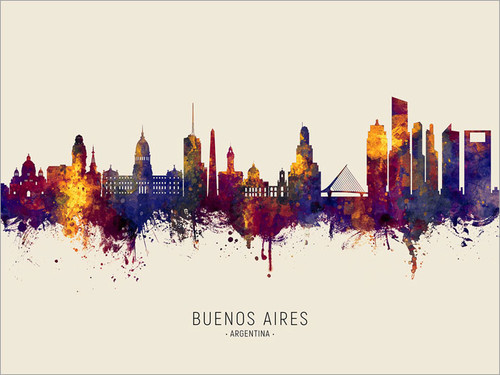 Buenos Aires Argentina Skyline Cityscape Poster Art Print
