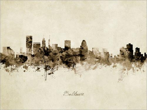 Baltimore Maryland Skyline Cityscape Poster Art Print
