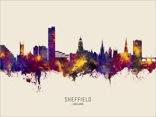 Sheffield England Skyline Cityscape Poster Art Print