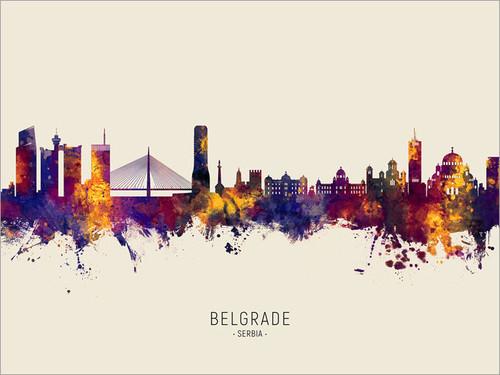 Belgrade Serbia Skyline Cityscape Poster Art Print
