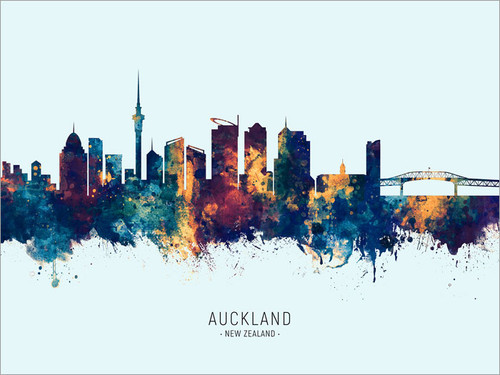Auckland New Zealand Skyline Cityscape Poster Art Print