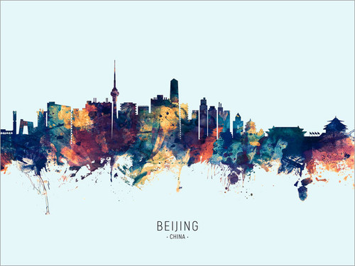 Beijing China Skyline Cityscape Poster Art Print
