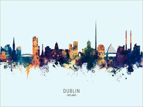 Dublin Ireland Skyline Cityscape Poster Art Print