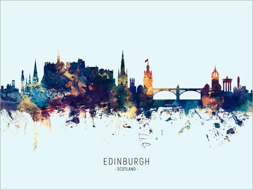 Edinburgh Scotland Skyline Cityscape Poster Art Print