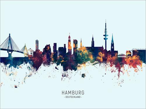 Hamburg Germany Skyline Cityscape Poster Art Print