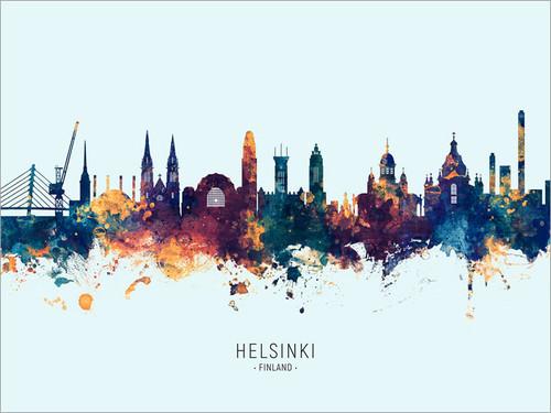 Helsinki Finland Skyline Cityscape Poster Art Print