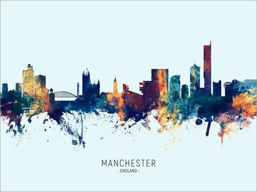 Manchester England Skyline Cityscape Poster Art Print