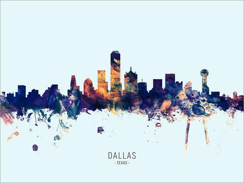 Dallas Texas Skyline Cityscape Poster Art Print