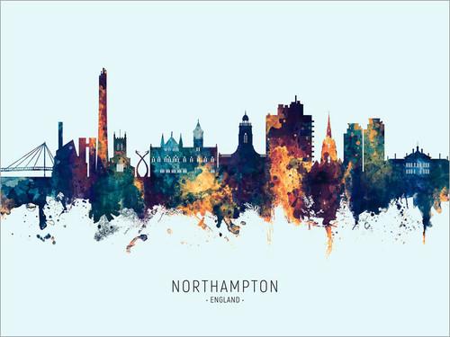 Northampton England Skyline Cityscape Poster Art Print