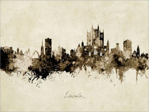 Lincoln England Skyline Cityscape Poster Art Print