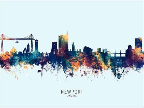 Newport Wales Skyline Cityscape Poster Art Print