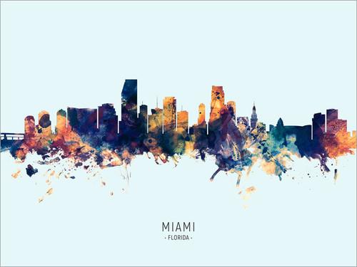 Miami Florida Skyline Cityscape Poster Art Print