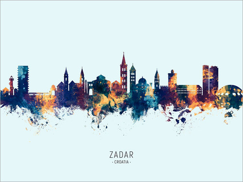 Zadar Croatia Skyline Cityscape Poster Art Print