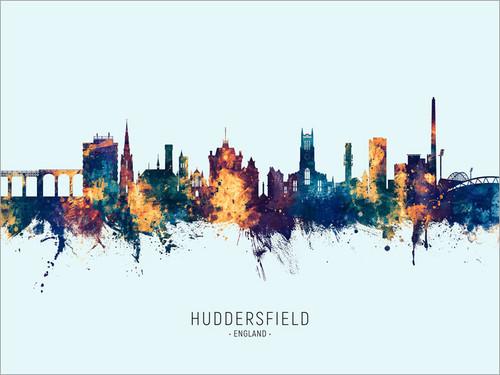 Huddersfield England Skyline Cityscape Poster Art Print