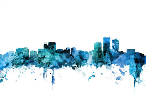 Anchorage Alaska Skyline Cityscape Poster Art Print