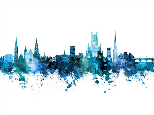 Worcester England Skyline Cityscape Poster Art Print