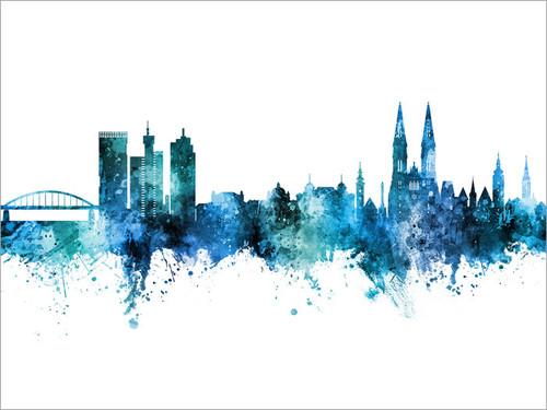 Zagreb Croatia Skyline Cityscape Poster Art Print