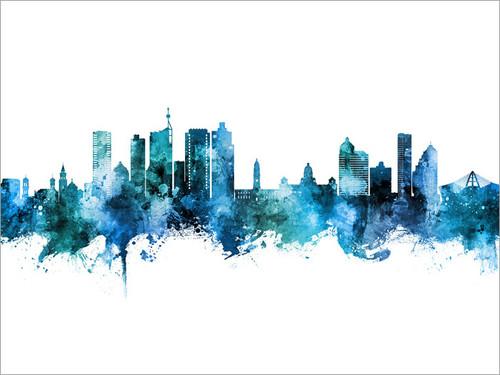 Durban South Africa Skyline Cityscape Poster Art Print