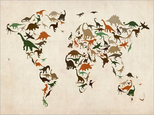 Dinosaur Map Poster Art Print