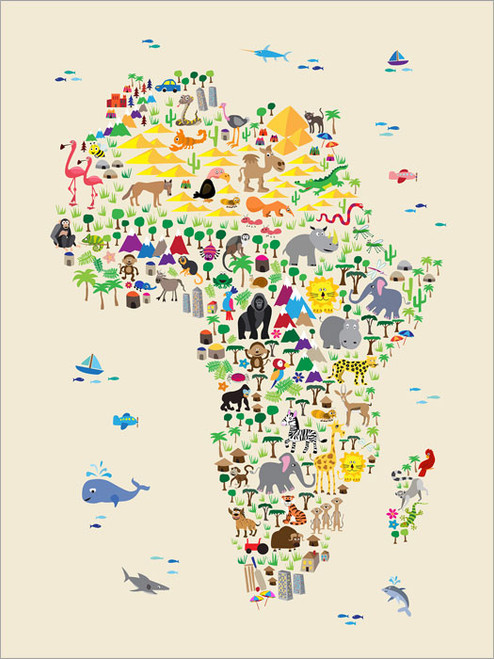 Children Animal Africa Map Poster Art Print