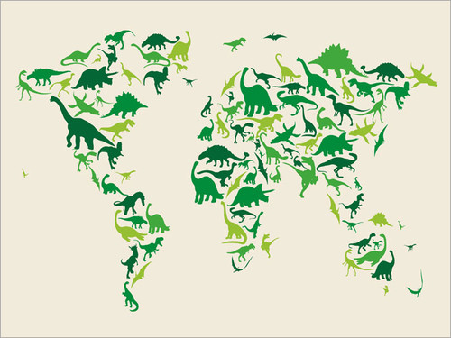 Dinosaur Map Poster Art Print