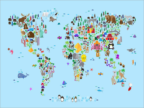 Children Animal World Map Poster Art Print
