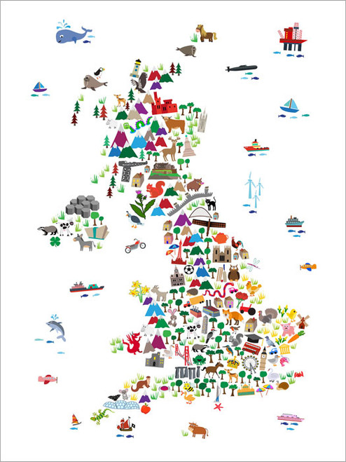 Children Animal UK Map Poster Art Print
