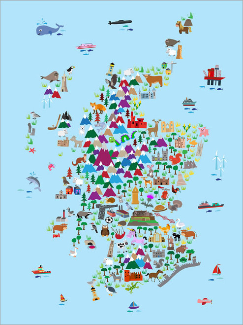 Children Animal Scotland Map Poster Art Print
