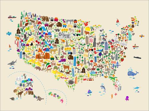 Children Animal USA Map Poster Art Print