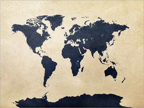 World World Map Map Poster Art Print